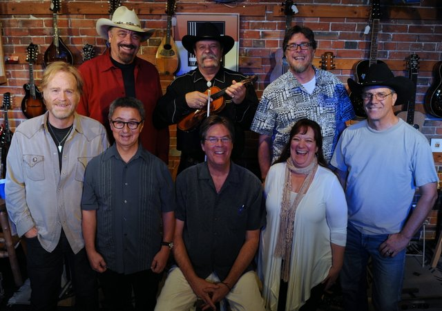 back: Jon Chandler, Johnny Neill, John Latini;  front:  Bob Livingston, Ernie Martinez, Kit Simon, Jamie Sue Seal, Jeff Graves