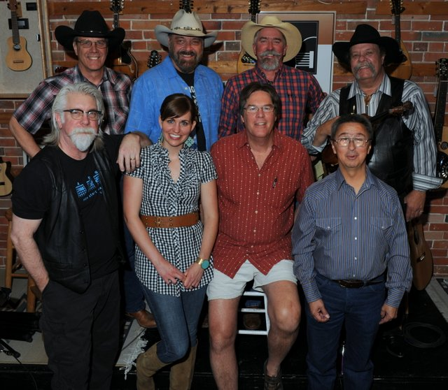 back: Jeff Graves, Jon Chandler, Mike Blakely, Johnny Neill;  front: Jeff Norman, Julia Bryan, Kit Simon, Ernie Martinez
