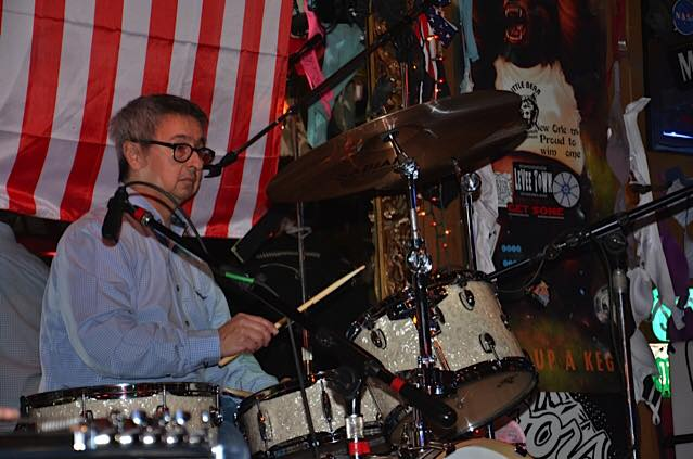 Ernie Martinez playing drums at the Little Bear with Dusty Devine and the Real Deal Jan 2015